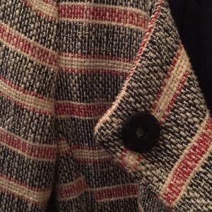 Zara boucle striped flyaway jacket